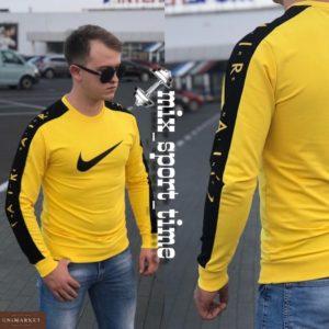 Заказать оптом обтягивающий мужской свитшот Nike турция цвета желтого недорого