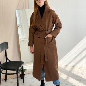 Приобрести в интернет-магазине женский коричневый осенний тренч на подкладке синтепоновой дешево