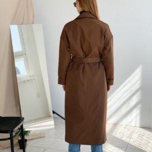 Заказать в подарок женский осенний коричневый тренч на синтепоновой подкладке оптом Украина