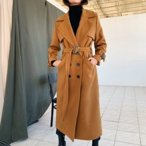 Заказать в подарок женское длинное пальто из кашемира и шерсти на осень коричневого цвета оптом Украина