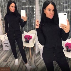 Приобрести в интернет-магазине женский костюм прогулочный спортивный с узором фактурным черного цвета дешево