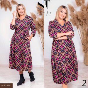 Приобрести в интернет-магазине женское платье трикотажное миди с поясом больших размеров дешево