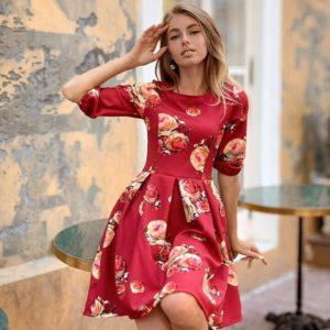 Заказать в подарок женское платье из костюмки с цветочным принтом красного цвета оптом Украина