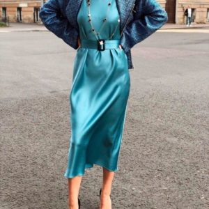 Заказать в подарок женское платье шелковое подчеркивает пояс в тон бирюзового цвета оптом Украина