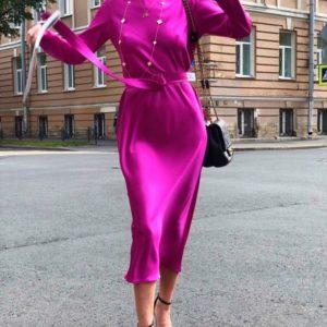 Купить недорого женское платье шелковое пояс подчеркивает в тон цвета фуксия в подарок