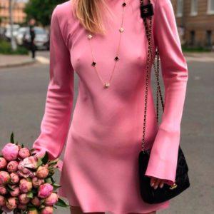 Приобрести в интернет-магазине женское платье шёлковое с длинным рукавом цвета розового дешево