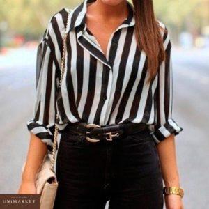 Заказать в подарок женскую блузку из софта нежного в полоску черно - белую оптом Украина