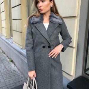 Приобрести в интернет-магазине женское пальто серое со сьемным воротником на пуговице дешево