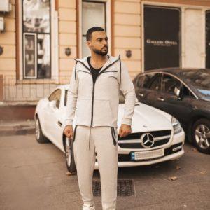 Купить в интернет-магазине мужской костюм теплый спортивный котоновый с капюшоном цвета серого батал дешево