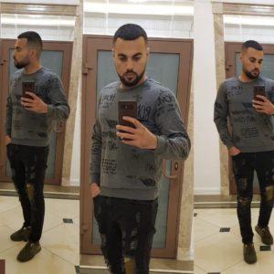 Купить дешево мужской хлопковый свитер батник теплый серого цвета больших размеров недорого