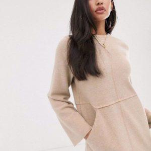 Приобрести в интернет-магазине женское длинное платье бежевое из ангоры плотной дешево