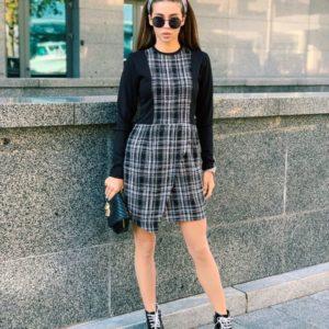 Приобрести в интернет-магазине женское платье черное в клетку из джерси и букле дешево