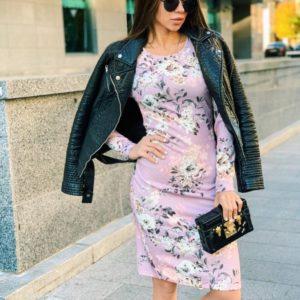 Заказать женское платье с длинным рукавом из теплого трикотажа цвета пудры недорого