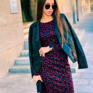 Купить недорого женское платье с принтом цветочным из трикотаж модала в подарок