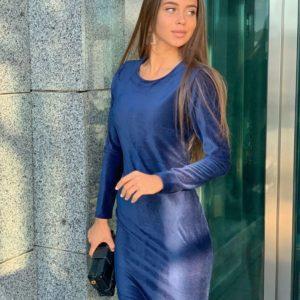 Купить недорого женское облегающее платье из стрейча вельветового рубчик цвета электрик в подарок