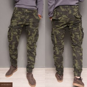 Купить дешево мужские теплые брюки джоггеры с карманами на флисе камуфляжного цвета недорого