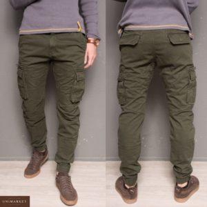 Приобрести в подарок мужские теплые джоггеры брюки с карманами на флисе цвета бутылки оптом Украина