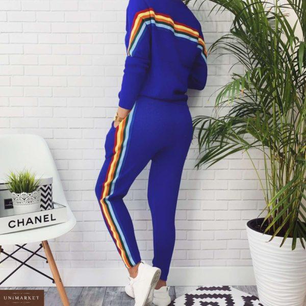 Заказать в интернет-магазине женский спортивный прогулочный костюм с разноцветными полосками синего цвета дешево