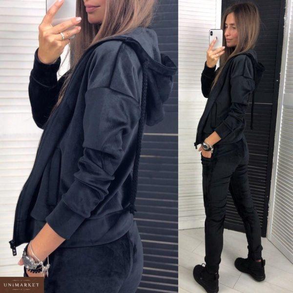 Заказать в подарок женский спортивный костюм из велюра на дайвинге черного цвета оптом Украина