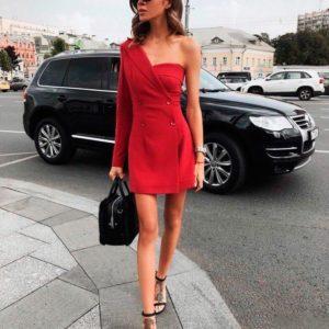 Заказать в подарок женское платье комбинированное из двух частей красного цвета оптом Украина