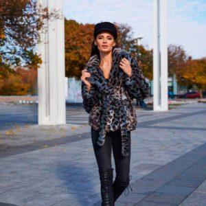 Приобрести в интернет-магазине женскую шубу леопардовую из меха мутона эко дешево