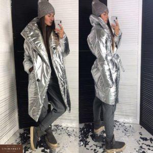 Купить недорого пальто женское пуховик стеганый с поясом на кнопках цвета сильвер в подарок