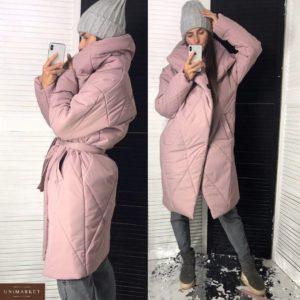 Приобрести в интернет-магазине женское пальто стеганый пуховик на кнопках с поясом цвета пудры дешево