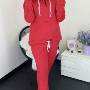 Заказать недорого женский костюм теплый спортивный из трехнитки с начесом красного цвета размеров больших в подарок