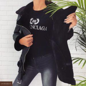 Приобрести в интернет-магазине женскую дубленку из искуственного меха черную с поясом дешево