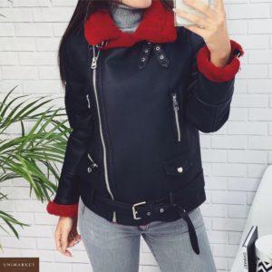 Купить недорого женскую дубленку с красным эко мехом черного цвета в подарок