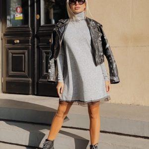 Приобрести в интернет-магазине женское платье трапеция из ангоры с кружевом софт серого цвета дешево
