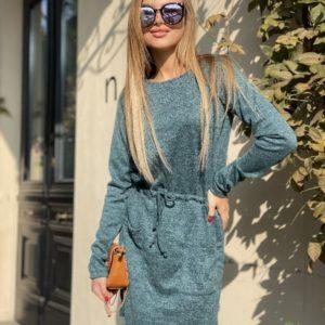 Приобрести в интернет-магазине женское из ангоры платье с карманами и поясом цвета темно-серого дешево