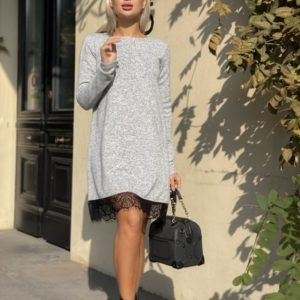 Заказать в интернет-магазине женское платье из софта с кружевом серого цвета дешево