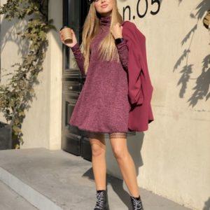 Приобрести в интернет-магазине женское из ангоры платье софт с отделкой кружево бордового цвета дешево
