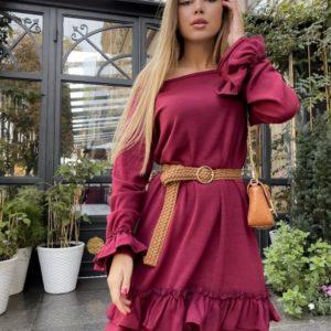 Заказать оптом платье марсаловое женское с воланами из арктической ангоры больших размеров недорого