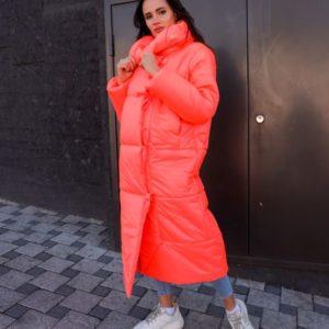 Заказать в интернет-магазине женское пальто из плащевки на подкладке принтованый нейлон красного цвета дешево