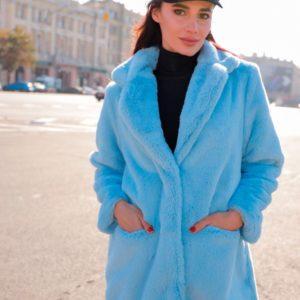 Приобрести в интернет-магазине женскую на шелковой подкладке шубу из экомеха голубого цвета дешево