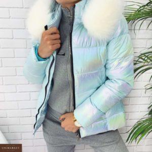 Приобрести в интернет-магазине женскую куртку с воротником белым из плащевки цвета голубого дешево