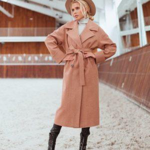 Приобрести дешево женское пальто шерстяное длинное на сатиновой подкладке с поясом цвета коричневого недорого