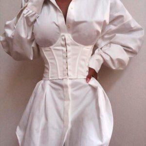 Приобрести в интернет-магазине женское платье из софта нежного с рукавами объёмными белого цвета дешево