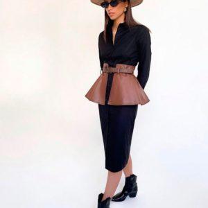 Заказать в подарок женское платье-рубашка со съёмной баской из экокожи черного цвета оптом Украина