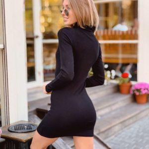 Заказать в подарок женское черное платье гольф с длинным рукавом оптом Украина