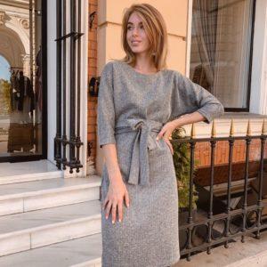 Приобрести в интернет-магазине женское серое миди платье из ангоры с поясом дешево