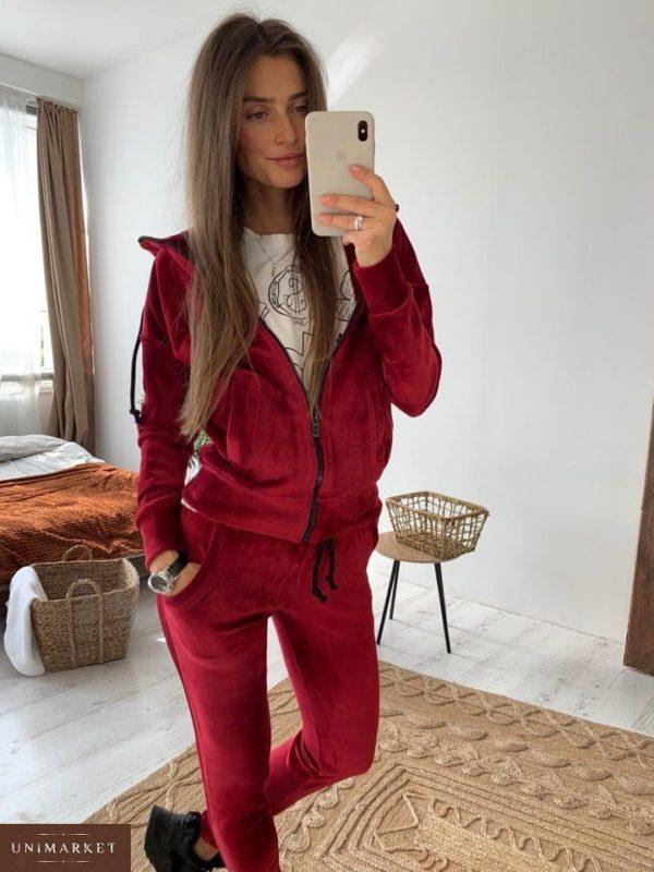Приобрести в интернет-магазине женский костюм спортивный из велюра на дайвинге цвета марсала дешево