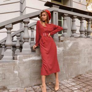 Приобрести в интернет-магазине женское платье из кукурузы жаккардовой в мелкий классический горошек цвета красного дешево