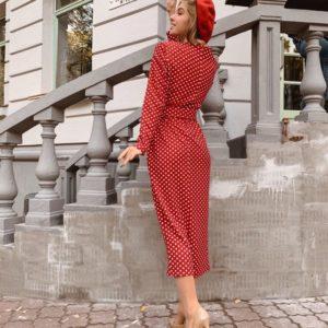 Заказать в подарок женское платье из жаккардовой кукурузы в классический мелкий горошек красного цвета оптом Украина
