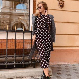 Заказать в подарок женское черное платье миди в горох из коттона оптом Украина