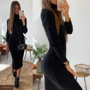 Заказать в подарок женское длинное вязаное платье гольф из хлопка черного цвета оптом Украина