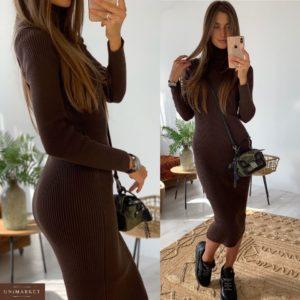 Приобрести в интернет-магазине женское платье из хлопка длинное вязаное гольф шоколадного цвета дешево