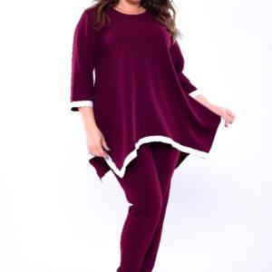 Заказать недорого женский костюм: кофта + брюки из креп дайвинга с декором тесьмы белой цвета бордового размеров больших дешево